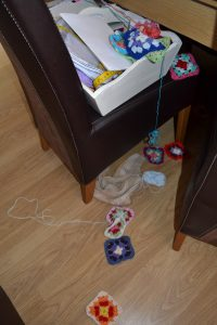 She started here! This is the box, the towel is on the floor and she has helped herself....