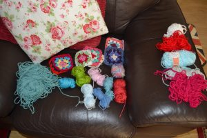 8 granny squares and 15 balls of wool in total had been taken for a walk and suitably killed in action!