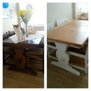 Again gone from a very dark wood to white and a sanded top, I still need to cover the chairs!